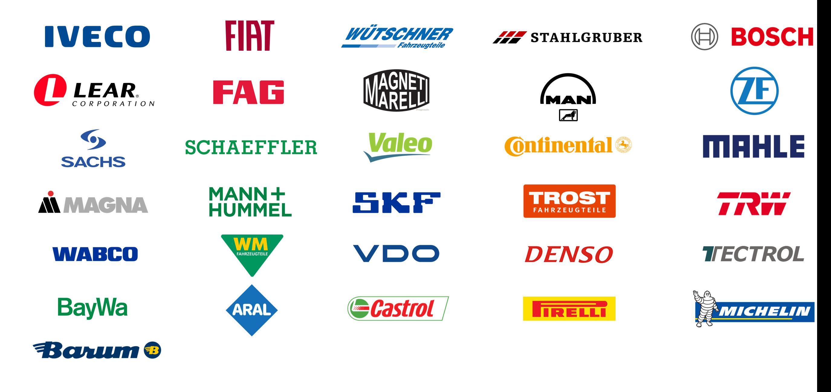 Übersicht Marken an Ersatzteilen Ölen Reifen für Nutzfahrzeuge Schäflein Truck Service bietet Ersatzteile aller Marken